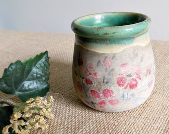 Pretty French Vintage Stoneware Pot from Provence...Proceram Hand Painted Pot...Green Glazed Interior