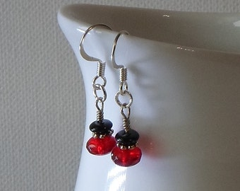 Sale - Hand Made Silver Tone Earrings Red & Black Beads