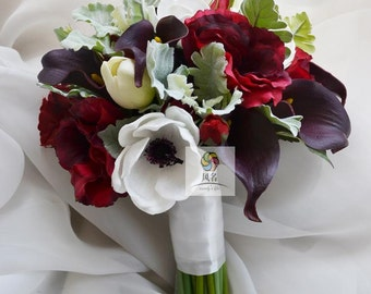 artificial flower wedding bridal bouquet vintage white red calla
