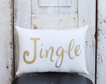 Jingle Pillow Decor Pillow Merry Christmas Pillow GOLD pillow 14x9 accent pillow Holiday pillow