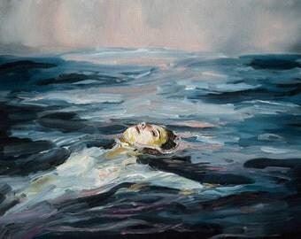 Dusk - Giclee Art Print, Sunset, ocean, oil painting, swimming