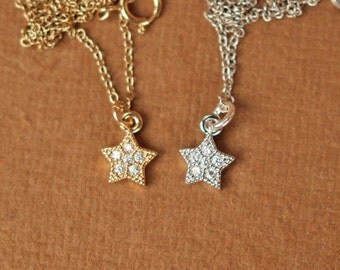 Star necklace - gold tiny star necklace - silver star necklace  - a tiny gold or silver star on a 14k gold vermeil or sterling silver chain
