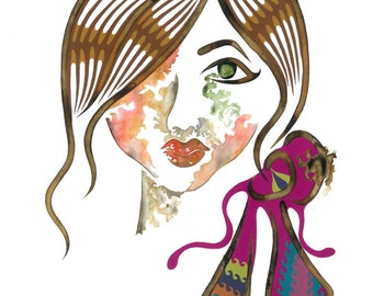 Sienna, A3 Giclée Wall Art, Girly Fashion Illustration, Colourful Fashion Illustration, Girly Wall Art, Beauty Illustration,