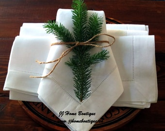 White Hemstitch Linen Napkins Set of 4 dinner napkins. Size 45.5 x 45.5 cm (18 x 18 in).  100% Linen