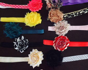 13 grab bag  shabby headbands - infant headband - elastic headband - lot of headbands - girls headband - flower headband - shabby headbands