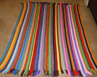 """Hand Crochet Multi Color Striped Afghan Blanket Throw Red Green Purple 62"""" x 48"""""""