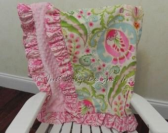 Baby Blanket with Ruffle - Kumari Gardens with Light Pink Minky Dot