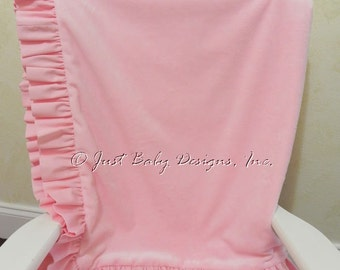 Baby Blanket with Ruffle - Light Pink