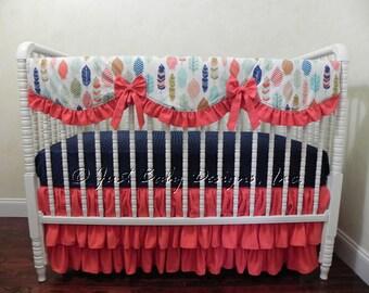 Bumperless Baby Crib Bedding Set Laikynn - Coral, Navy, and Mint Baby Girl Bedding, Scalloped Rail Guard, Tribal Crib Bedding