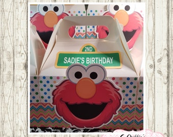 Elmo party favor box, Elmo gable box, 10 Elmo party favor gable box, Elmo favor box, Sesame Street party boxes