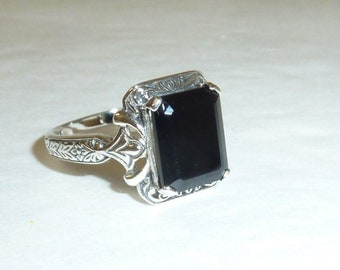 Black Onyx Sterling Silver Ring Art Deco Victorian Style Engagement Solid 925 Sterling Genuine Gemstone Size 5