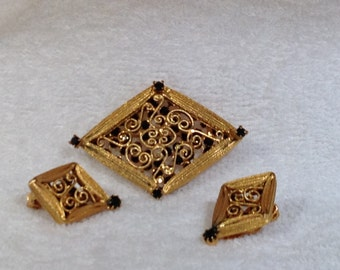 Filigree Brooch and Earrings with Black Stones