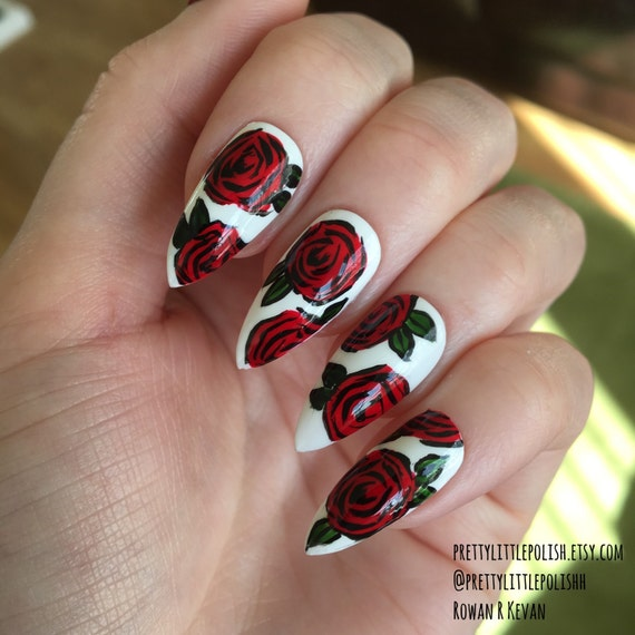 Acrylic Nail Art Rose: Rose Stiletto Nails Nail Designs Nail Art By