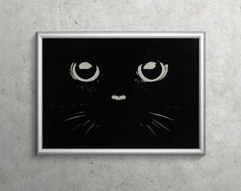 IN THE DARK  |  inky black cat face