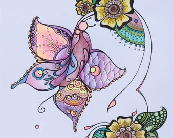 Henna Butterfly - Pink