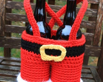 Santa Pants Gift Basket - PDF crochet pattern ONLY - Christmas, Tote, Wine, Holiday Party, Hostess, Hot Cocoa, Christmas Eve