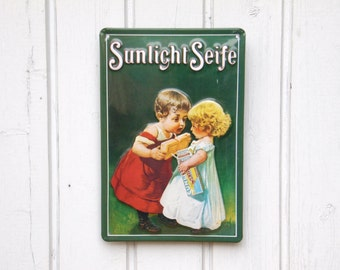 Metal Advertising Sign - Vintage German Advertising Signage - Tin Sign - Home Decor - Loft Decor