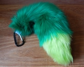Mini Fox Tail in Green With Carabiner Costume Cosplay Anime Furry