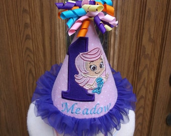 Girls Birthday Hat - Bubble Guppy Theme