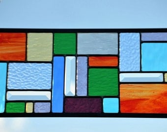 Stained Glass, Stained Glass Panel, Stained Glass Window, Custom Stained Glass Window Panel. Home Decor. Leaded Glass Panel, 'Four Seasons'