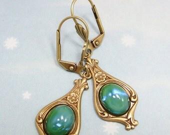 Blue Green Opal Earrings Sea Green Earrings Art Deco Victorian Bridal Wedding