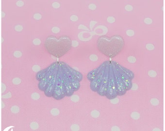 Sparkly shell Earrings (sterling silver)