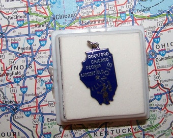 Vintage Wells  ILLINOIS Sterling Silver  and Enamel State Charm -- Chicago, Peoria, Springfield and Rockford