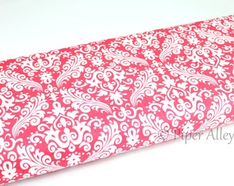 Cotton Fabric, Damask Raspberry Pink & White, Riley Blake, 100% Quilting Cotton ~ By The Half Yard, Dark Pink Floral Print
