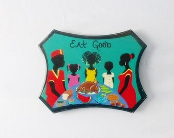 """Eat Good """"Happy Thanksgiving"""" Holiday Wall Hanging Vintage 1995 Thanksgiving Artwork Original Painting Artist Signed Home Decor"""