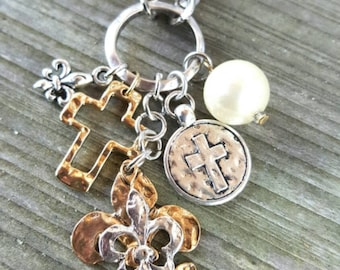 Mixed Metal Charm Necklace with Fleur de Lis & Cross Charms