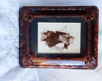 Antique circa 1900 LIttle Girl Photo in a Plastic Ornate Frame