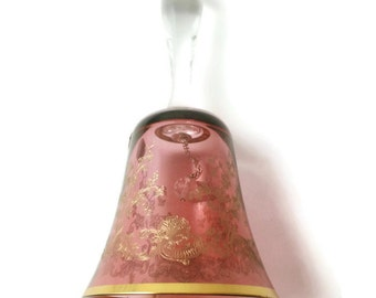 Bohemian Crystal Cranberry Glass Bell, Gold Accent Designs and Trim, Bohemia Glass