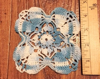 Doily - Small blue and white crocheted