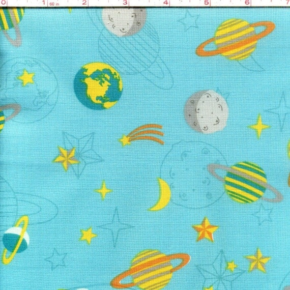 One yard blue atomic bots planets suns outer space for Kids space fabric