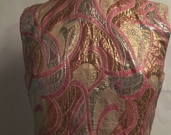 1960's psychedlic metallic dress of pink, gold and plum minidress. Vintage
