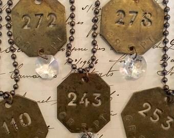Vintage Brass Tag Necklace