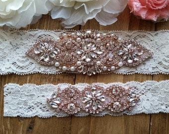 Sale -Wedding Garter and Toss Garter-Crystal Rhinestone with Rose Gold Details - Ivory Garter Set - Style G20903RG