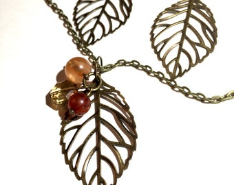 Leaf necklace set, leaf, leaf jewelry, fall jewelry