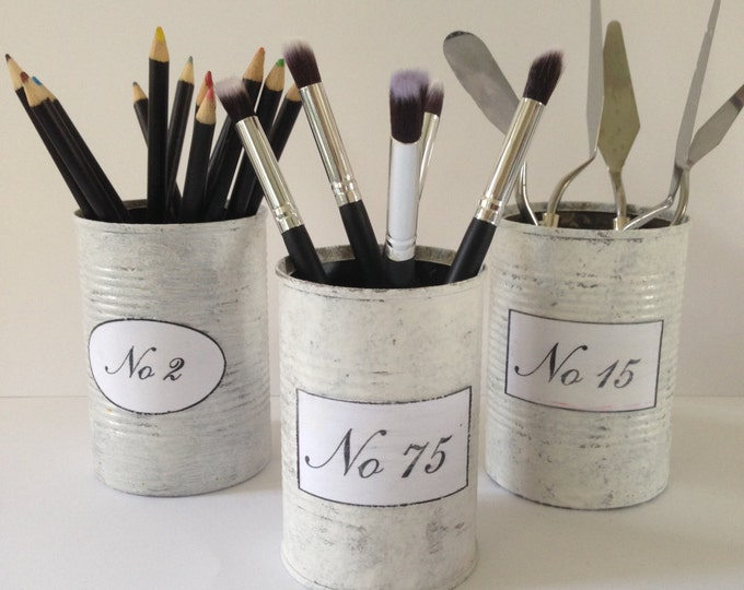 Shabby chic home decor. Decorative Cans ,Home Decor,Wedding Decor,Table Centerpiece Tin/can pen make-up flower holder,