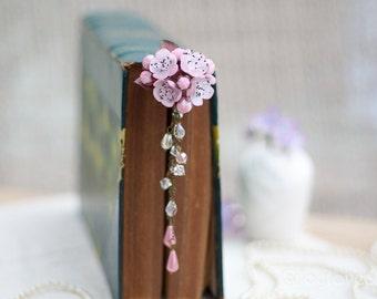 cherry blossom hair stick, hair accessories ,handmade flowers , vintage style