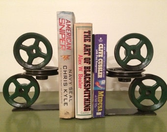 Industrial Metal Pulley Bookends