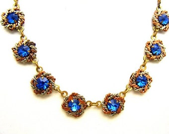 Vintage Late Deco Necklace Mixed Metal Brass Copper Silver Tone Blue Rhinestones
