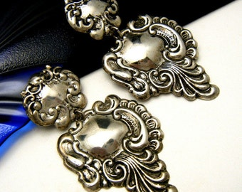 Vintage Silver Tone Repousse Luggage Tag Earrings Pierced Post Back