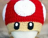 Nintendo inspired super mario brothers red grow mushroom