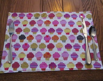 Cupcake Placemats, Reversible Placemats, Kids Placemats