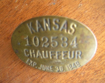 Kansas Chauffeur Pin