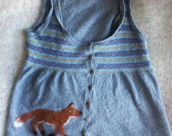 Fox jumper sweater upcycled needle wool angora cashmere lambswool knitwear knit pullover OOAK
