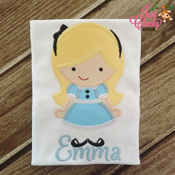 Alice in Wonderland Embroidered Shirt - Disney Girls Shirt - Disney Princess Birthday Shirt