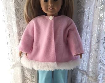 Pink fleece swing coat for 18 inch dolls