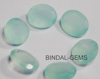 Lot 15 Pieces Aqua Chalcedony Oval Shape Loose Faceted Cut Gemstone